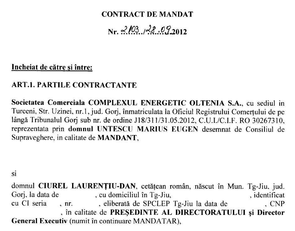 contract mandat ciurel